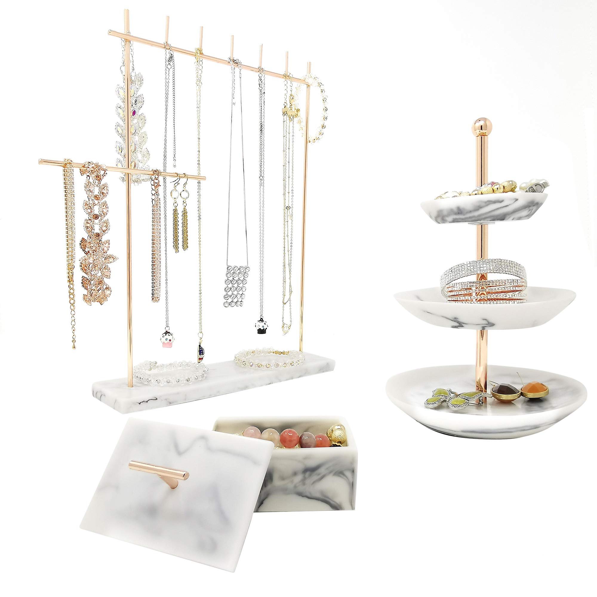 Rose Gold Jewelry Organizer Set 3 - Easily Organize Necklaces Earrings Rings Bracelets - Incl. 12.5'' H Jewelry Rack, 3 Tier Ring Holder Dish, Jewellery Trinket Box for Women