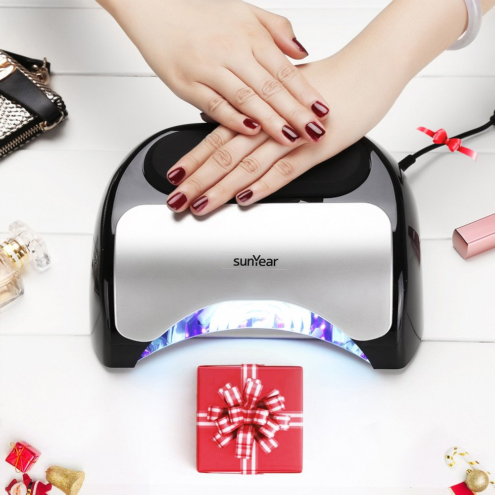 Upgraded 48W LED UV Nail Dryer- LED UV Nail Lamp With Built-In Cooling Fan For Temp Control-Compatible With Gel Polishes And Layers- Great For Hands & Feet