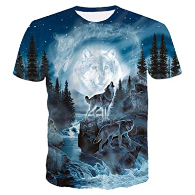 b365d8e26436 Digital Print Short Sleeve Summer Round Neck Mens Creativity 3D Print Wolf Graphics  T-Shirts