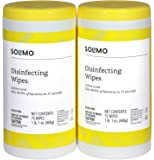 Amazon Brand - Solimo Disinfecting Wipes, Lemon Scent, Sanitizes/Cleans/Disinfects/Deodorizes, 75 Wipes Each (Pack of 2)