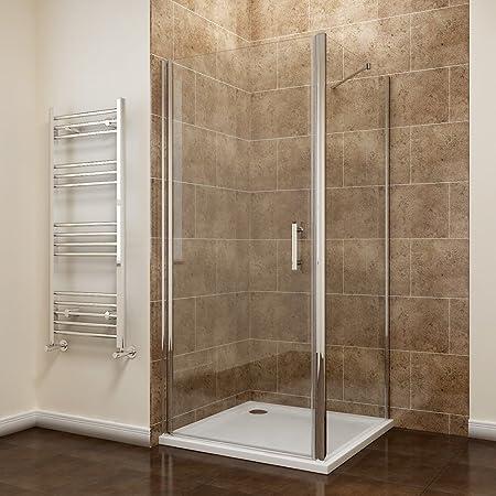 700 x 900mm Frameless Pivot Shower Door Enclosure 6mm Safety Glass ...