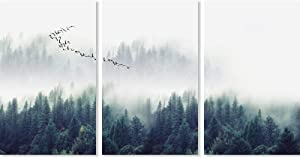 "3 Piece Canvas Wall Art,Misty Forests of Evergreen Coniferous Trees in an Ethereal Landscape for Living Room Bedroom Home Decoration Wall Decor 16""x24""Framed Ready to Hang"