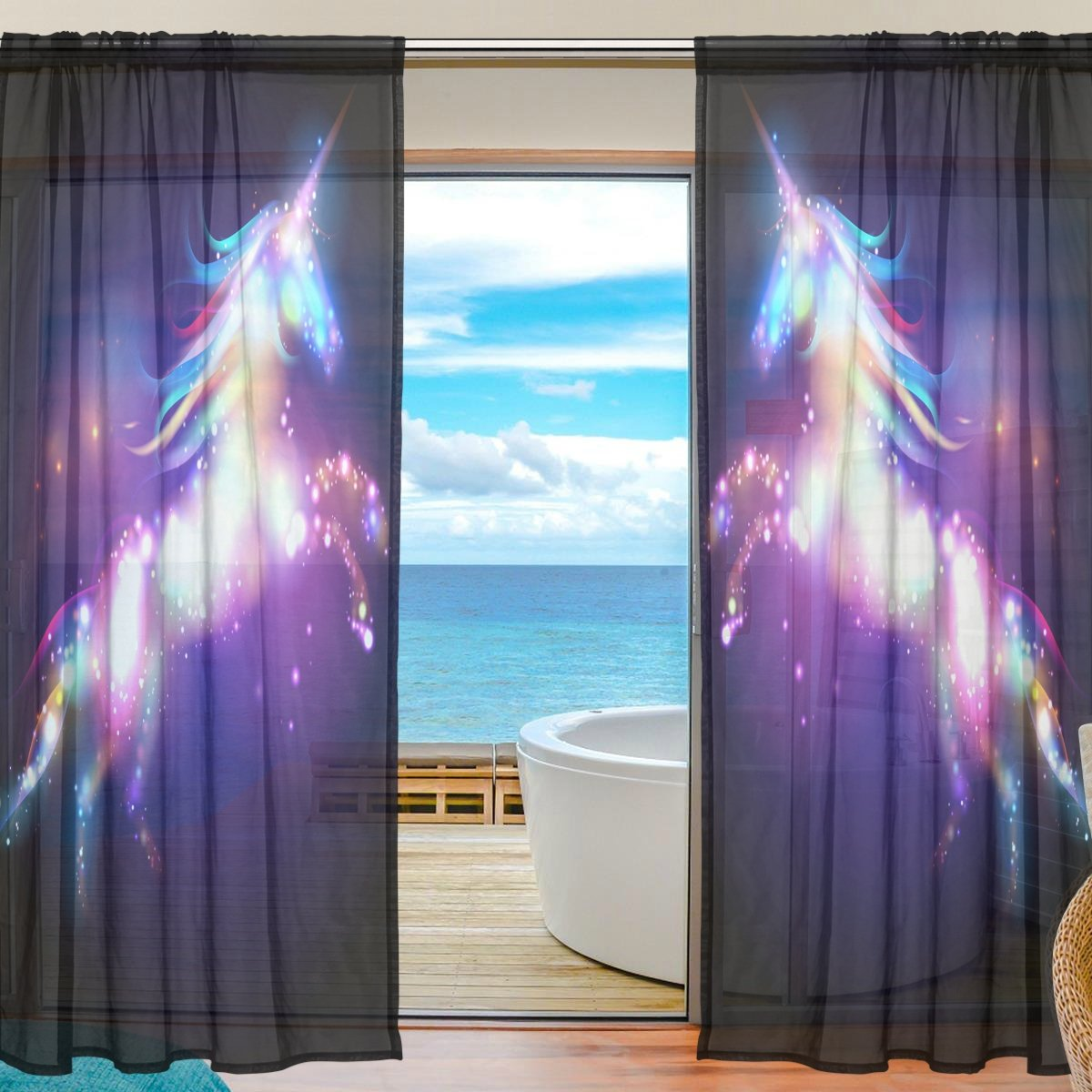 SEULIFE Window Sheer Curtain, Fantasy Animal Unicorn Glitter Voile Curtain Drapes for Door Kitchen Living Room Bedroom 55x78 inches 2 Panels g3307571p112c126s167