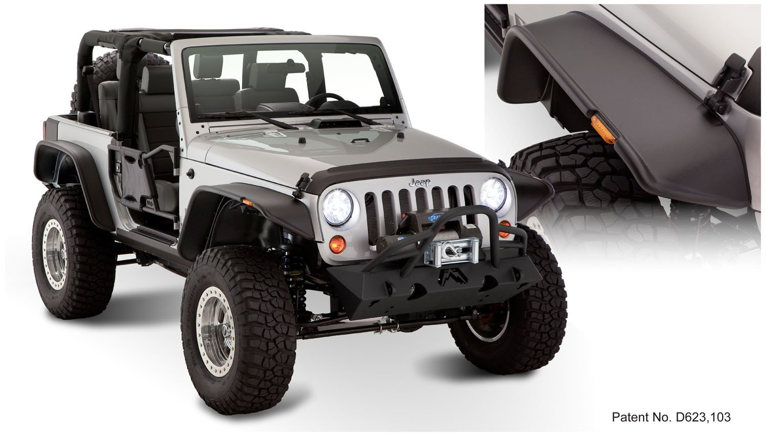 Amazon.com Bushwacker 10919-07 Jeep Flat Style Fender Flare - Set of 4 Automotive  sc 1 st  Amazon.com & Amazon.com: Bushwacker 10919-07 Jeep Flat Style Fender Flare - Set ...