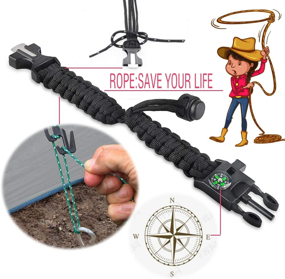 2pcs Fire Starter Whistle,for Fishing Gear Supplies Knife Survival Bracelet Paracord Military Bracelet Buckle Tool Adjustable Rope Accessories Kit Compass Hiking Travel Camp ,
