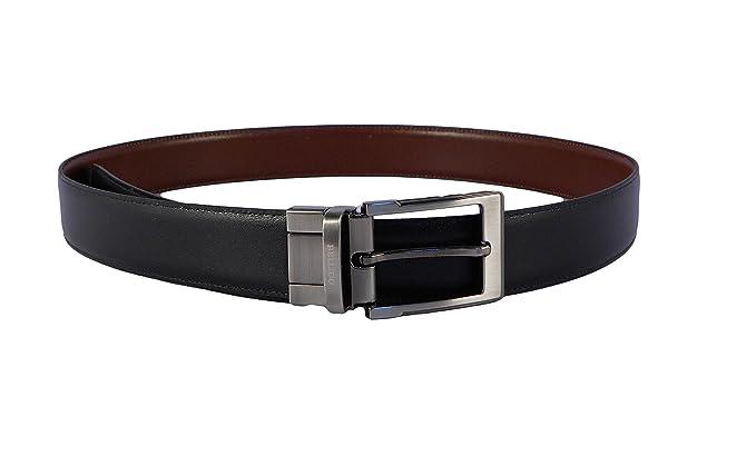 Cinturón hombre piel clásico reversible negro - cuero Miguel Bellido con hebilla plateada vgBZR