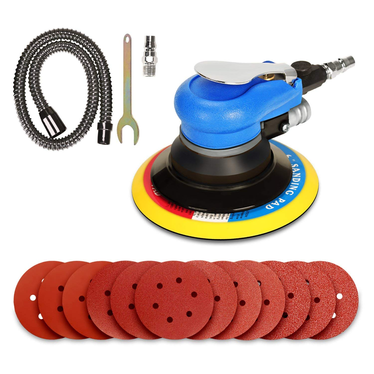 ZFE 6 Air Random Orbital Sander, Dual Action Pneumatic Sander with 12 Pcs Sanding Discs Pad 80 120 240 320 , 6 Inch Air Sander Polisher for Car and Metal