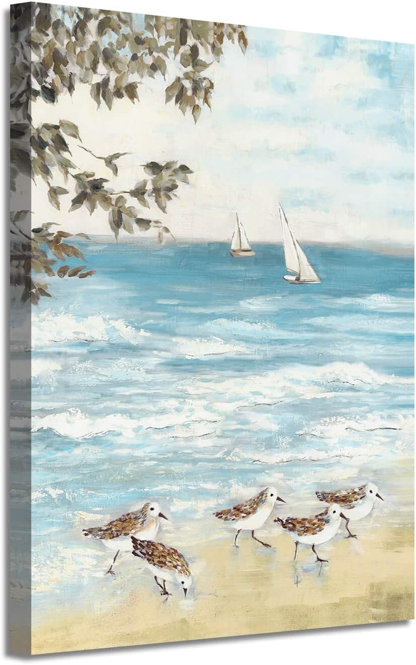 Abstract Ocean Artwork Coastal Picture: Beach Painting Sea Birds Wall Art Print on Canvas for Office Living Room (18