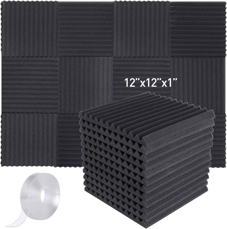 Soundproofing Acoustic Foam Tiles 12 Pcs Set Studio Wall Panels Wedge Absorption