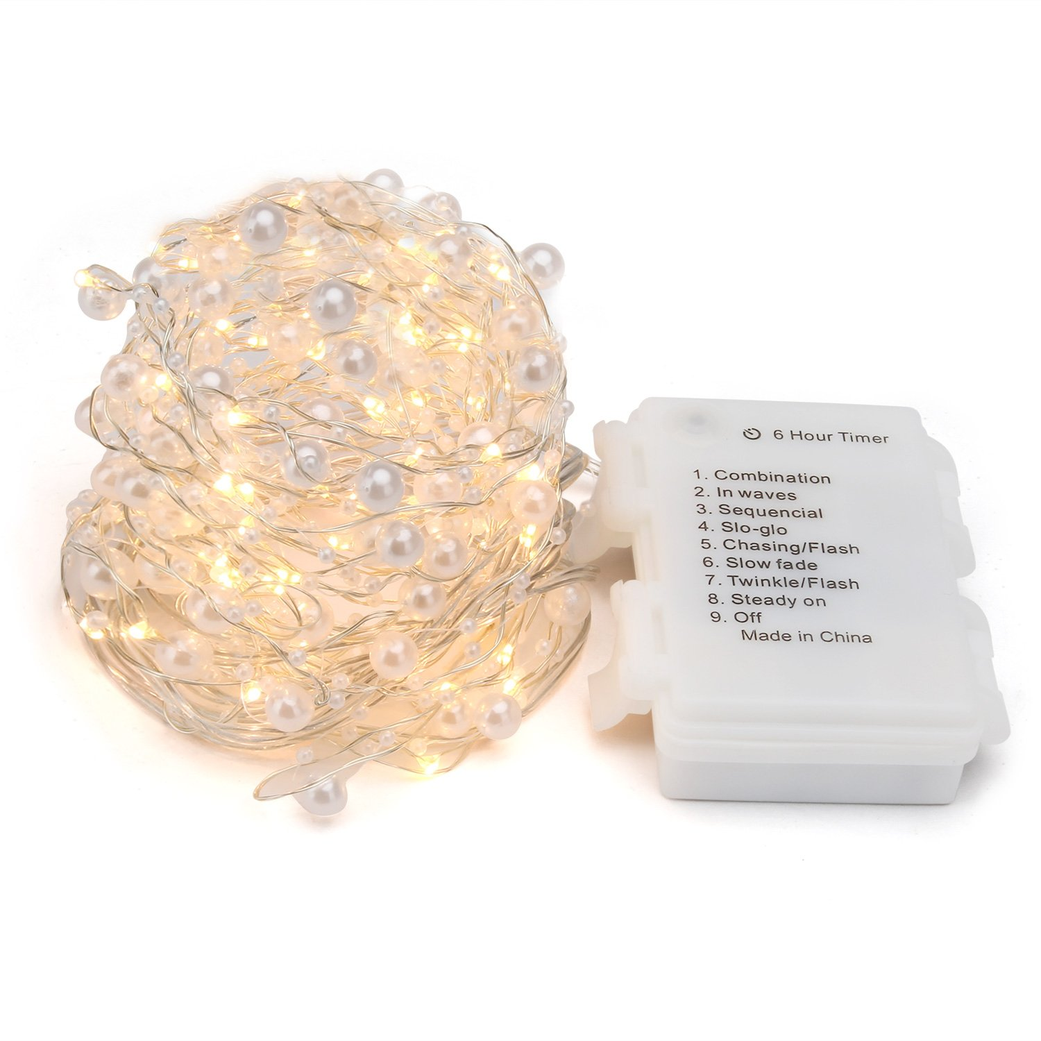 ENGIVE LED Fairy String Lights,19.7Ft/6M 60leds Pearl String Lights Christmas Garden Home Party Festival Decorations Crafting Battery Operated Lights(Warm White) by ENGIVE (Image #2)