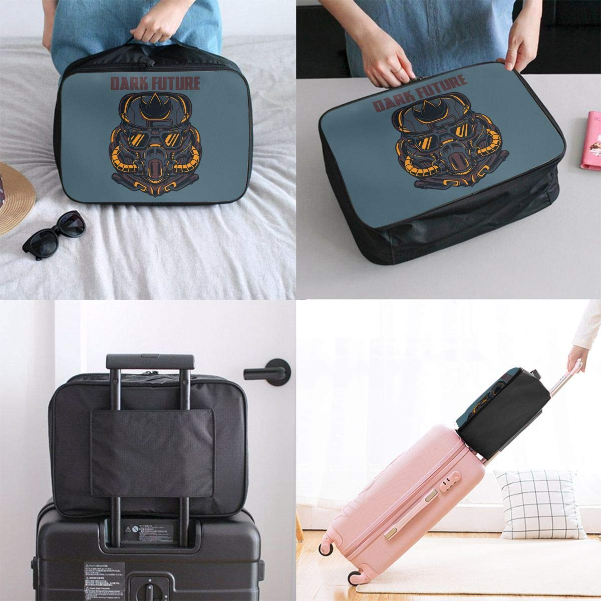 Travel Duffel Bag Waterproof Lightweight Large Capacity Luggage Bag Dark Future Portable Carry On Luggage Bag For Travel Camping Sport White