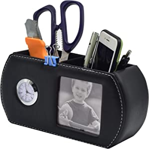 Remote Control Holder with 4~6 Spacious Compartments - Leather Storage Pocket Accessories Fashionable Cell Phone Storage Box