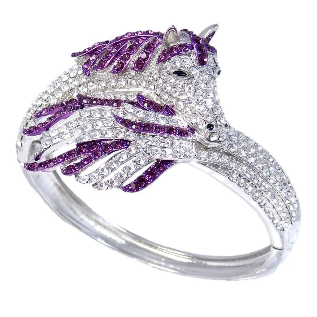 Ever Faith Silver-Tone Sleeping Pegasus Austrian Crystal Bracelet N02576-6