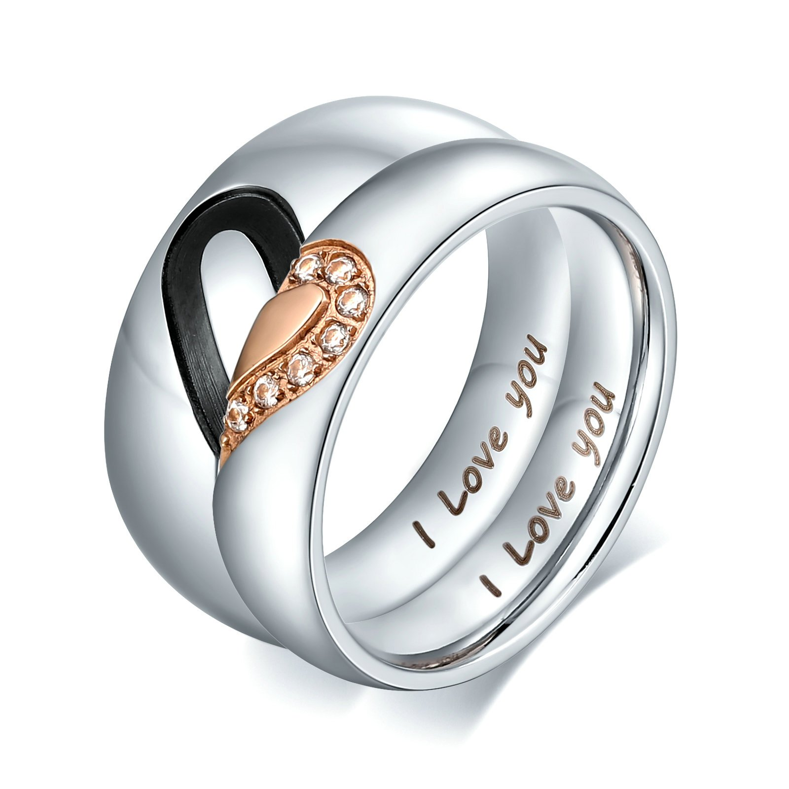 Aienid Women Gold Wedding Bands Stainless Steel Puzzle Heart with Cz Promise Engagement Ring Size 5