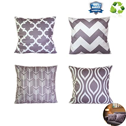 Geometric Decorative Pillow Covers,Grey Throw Pillows Cases Soft Square  Sofa Cushion Cover For Couch