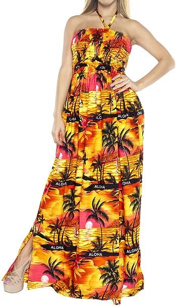9671817c1c LA LEELA Cover up Tube Top Women Maxi Dress Halter Neck Skirt One-Piece  Beachwear Ladies Orange   LA LEELA  Amazon.co.uk  Clothing