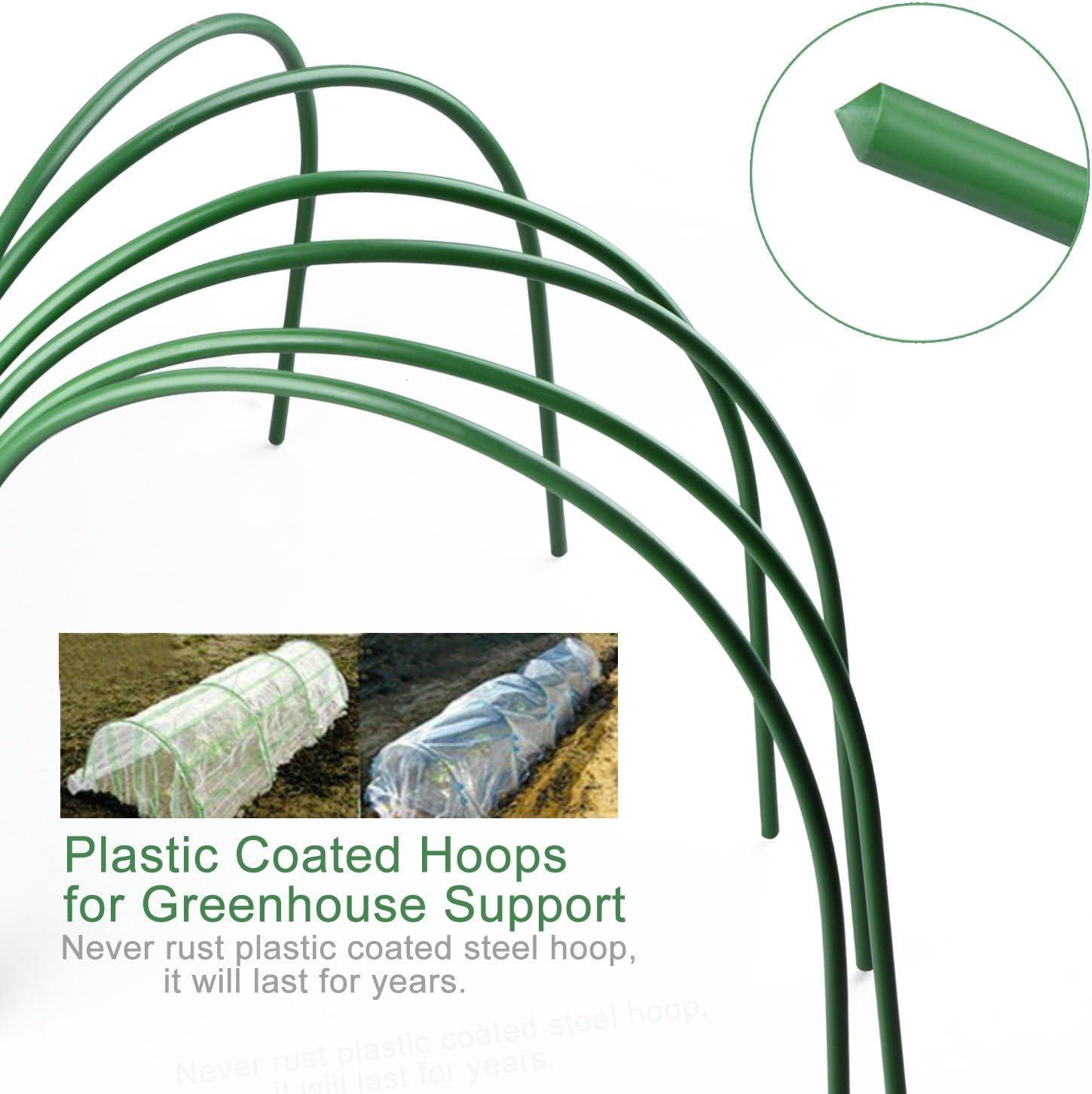 lungo 1,2/m cerchi in acciaio con rivestimento in plastica supporto per giardino tessuto Lulalula 6-pack serra a cerchio inossidabile tunnel con cerchi