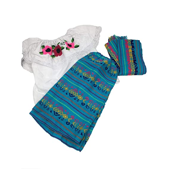 Vestido Mexicano Para Bebé Tamaño 2 Juego De 3 Piezas