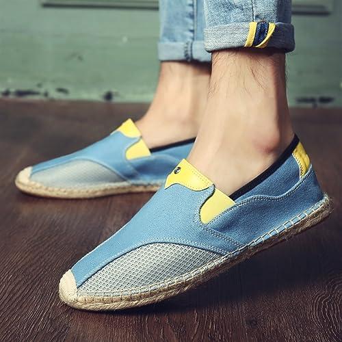 4cb6a68e Insun Alpargatas para Hombres Lona Vamp Artesanal Suela Cuerda de Yute  Plana Zapatos Moda: Amazon.es: Zapatos y complementos