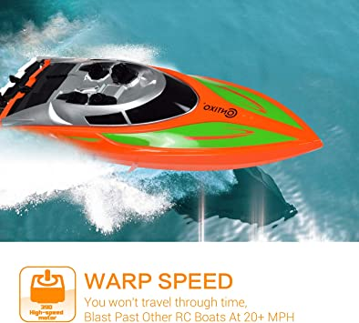 Black RC Race Boat High Speed 2.4Ghz Remote Control Boat for Pools and Lakes Double Motors Radio Control Electric Racing Boats for Kids Adults
