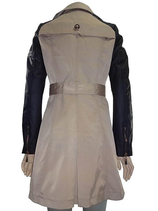 fbc81e618833 Nouveau Mode pour Femme Simili Cuir Manches Double Boutonnage Trench Coat  Veste  Amazon.fr  Vêtements et accessoires