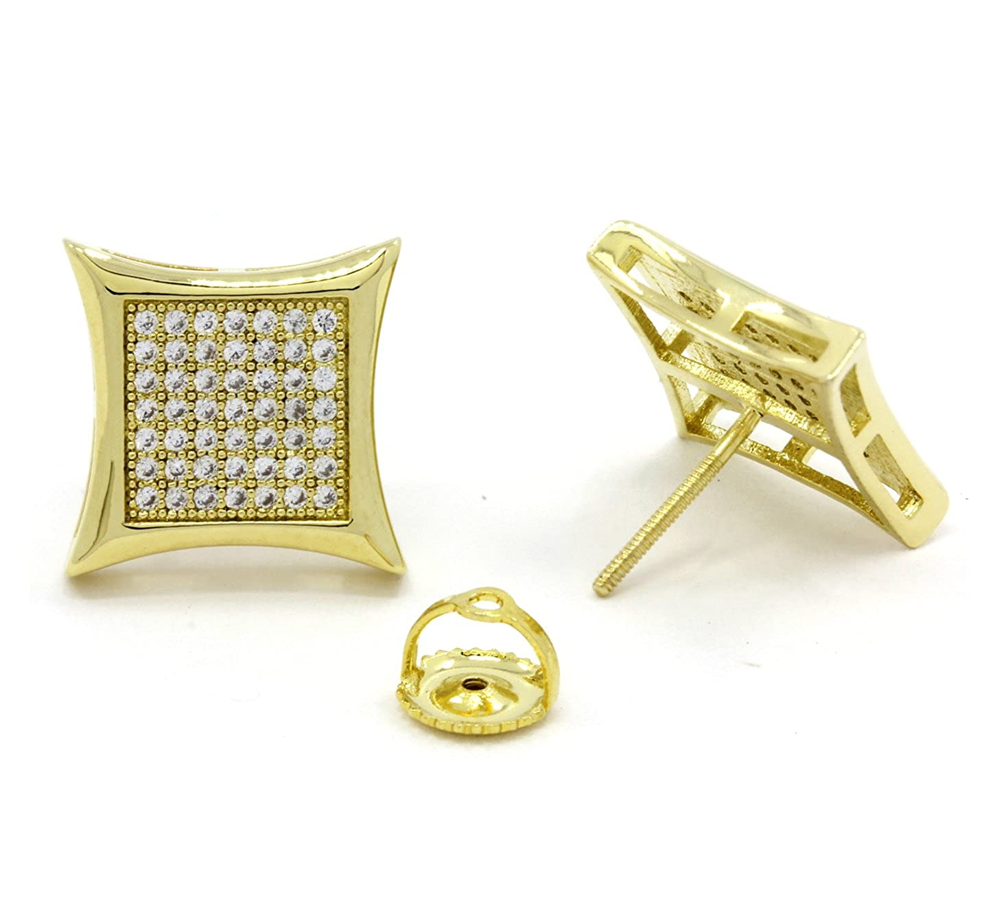 da9da4225 Amazon.com: Mens 10mm Gold Plated Cz Micro Pave Iced Out Hip Hop Large Kite  Stud Earrings Screw Backs (7 Lines): Jewelry