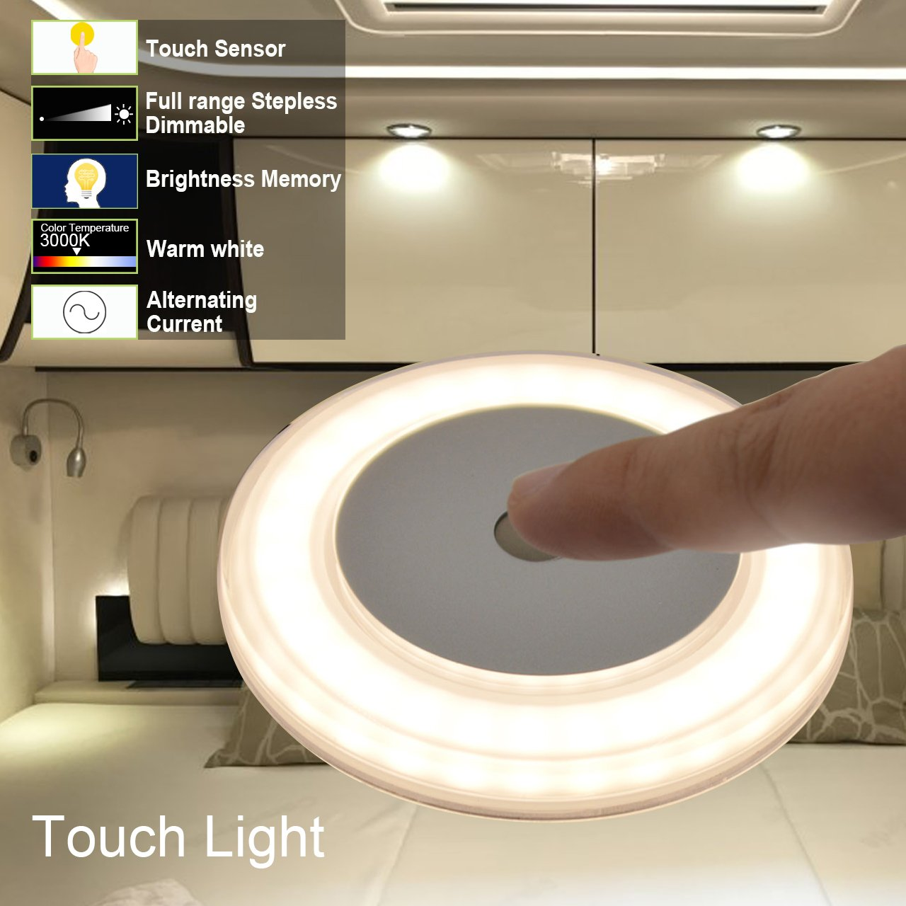 DC 12V 2800K Soft White Memory Light Annular Frosted Lens with Stepless Dimmable Hidden Fasteners Design with Stainless Steel Screws Surface Mount 3W RV Boat Touch Ceiling LED Light