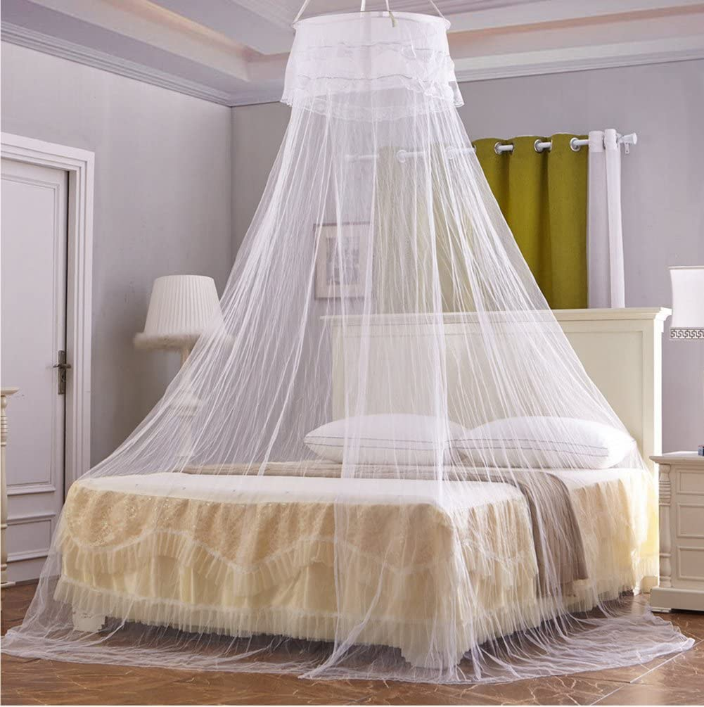 Yanglovele Home Mosquito Net Decoration Lace Bed Canopy Netting Princess Large Size For All Twin, Full, Queen, King Small Hole (White)