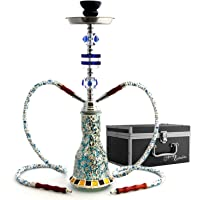 "GStar Deluxe Series: 20"" 2 Hose Hookah Complete Set w/ Travel Case - Mosaic Tile Art Glass Vase - Pick Your Color (Blue w/ Case)"