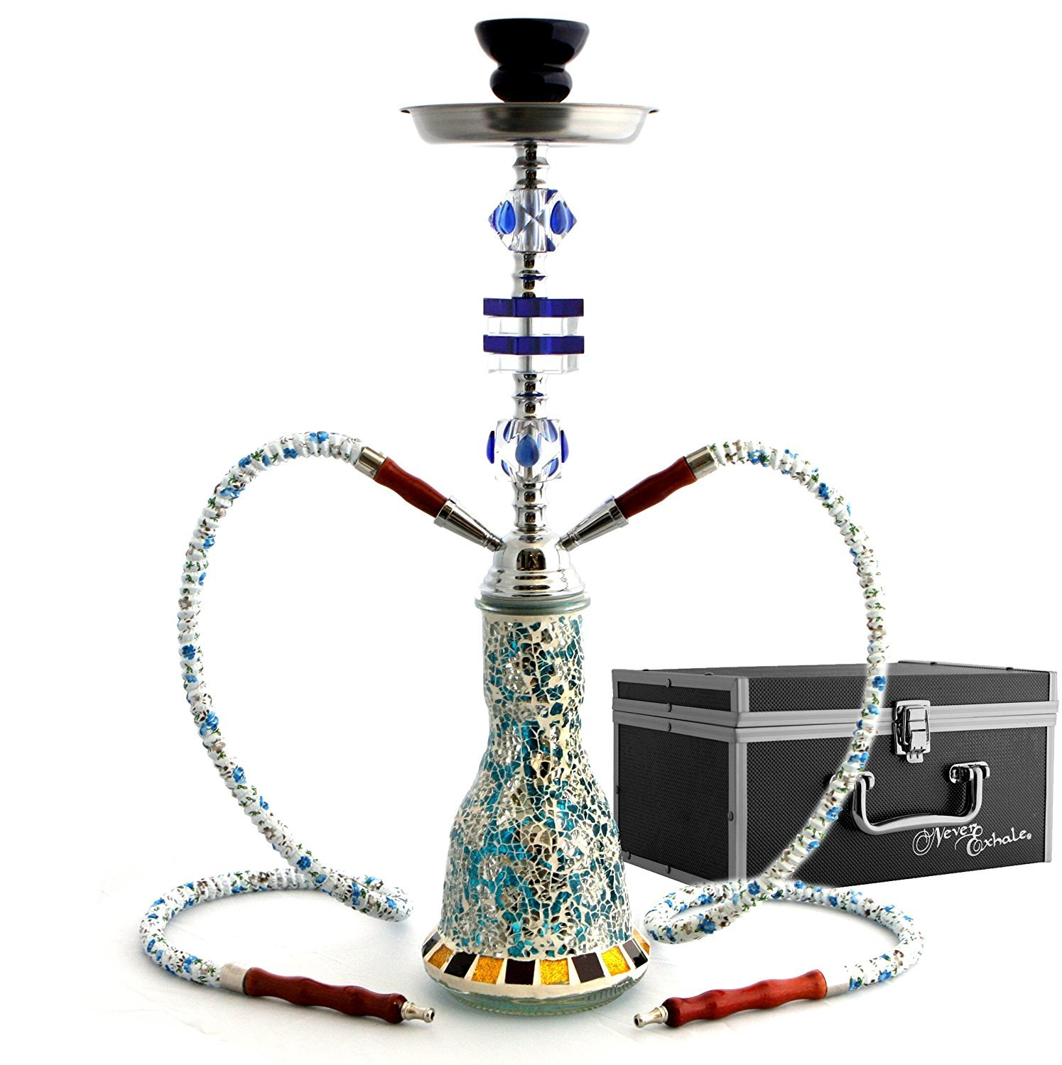 GStar NeverXhale Deluxe Series: 20'' 2 Hose Hookah Shisha Complete Set w/ Travel Case - Mosaic Tile Art Glass Vase (Blue w/ Case) by GStar