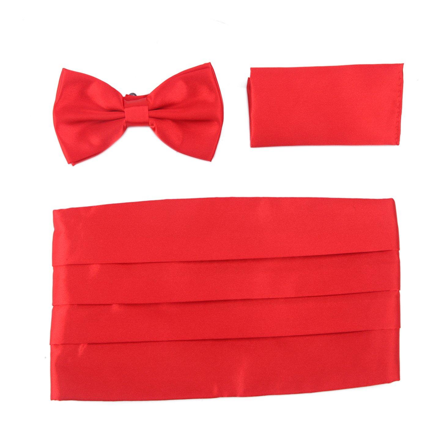 HDE Tuxedo Set Men's Formal Satin Blend Bow Tie, Cumberbund, and Pocket Square Cummerbund