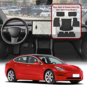 All Weather Custom Fit Front and Rear Heavy Duty 2017 2018 2019 Black ROCCS Tesla Model 3 Floor Mats Liners Set