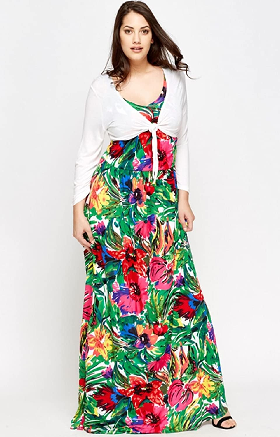 1fa647935d5 Un-Poco Green Pink Red Purple White Tall Long Tropical Floral Print Maxi  Dress   Shrug Plus Size 14 to 22 (14)  Amazon.co.uk  Clothing