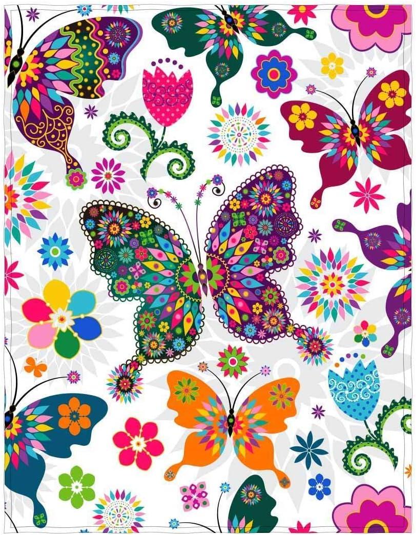 Cotone YISUMEI Coperta Confortevole Calore Morbido Accogliente Facile da Lavare in Lavatrice Farfalle Colorate Color 1 125 x 200 cm