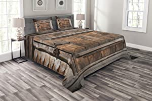 Ambesonne Vintage Bedspread, Rustic Wooden Door of Old Barn in Farmhouse Countryside Village Aged Rural Life Image, Decorative Quilted 3 Piece Coverlet Set with 2 Pillow Shams, King Size, Brown Grey