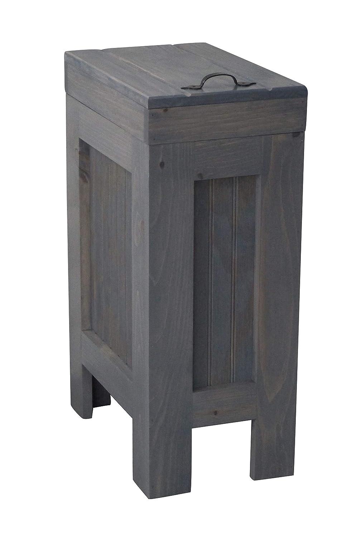 素朴な木製Trash Bin、キッチンゴミ箱ごみ箱木製ゴミ箱、キャビネット、犬、食品ストレージ、13ガロン、ごみ箱、グレーStain – メタルハンドル – ハンドメイドin USA by chris- Buffalowoodshop B079YWQ31B