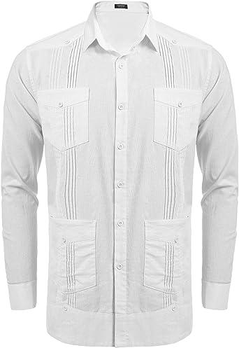 COOFANDY - Camisa de manga larga para hombre, estilo guayabera cubano, casual, con botones, algodón, lino, para playa, boda - - Large: Amazon.es: Ropa y accesorios