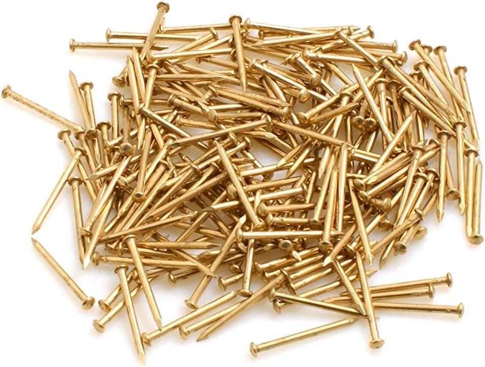 Design61 Lot de 160 clous /à t/ête ronde en fer laitonn/é 2,5 x 25 mm 100 g