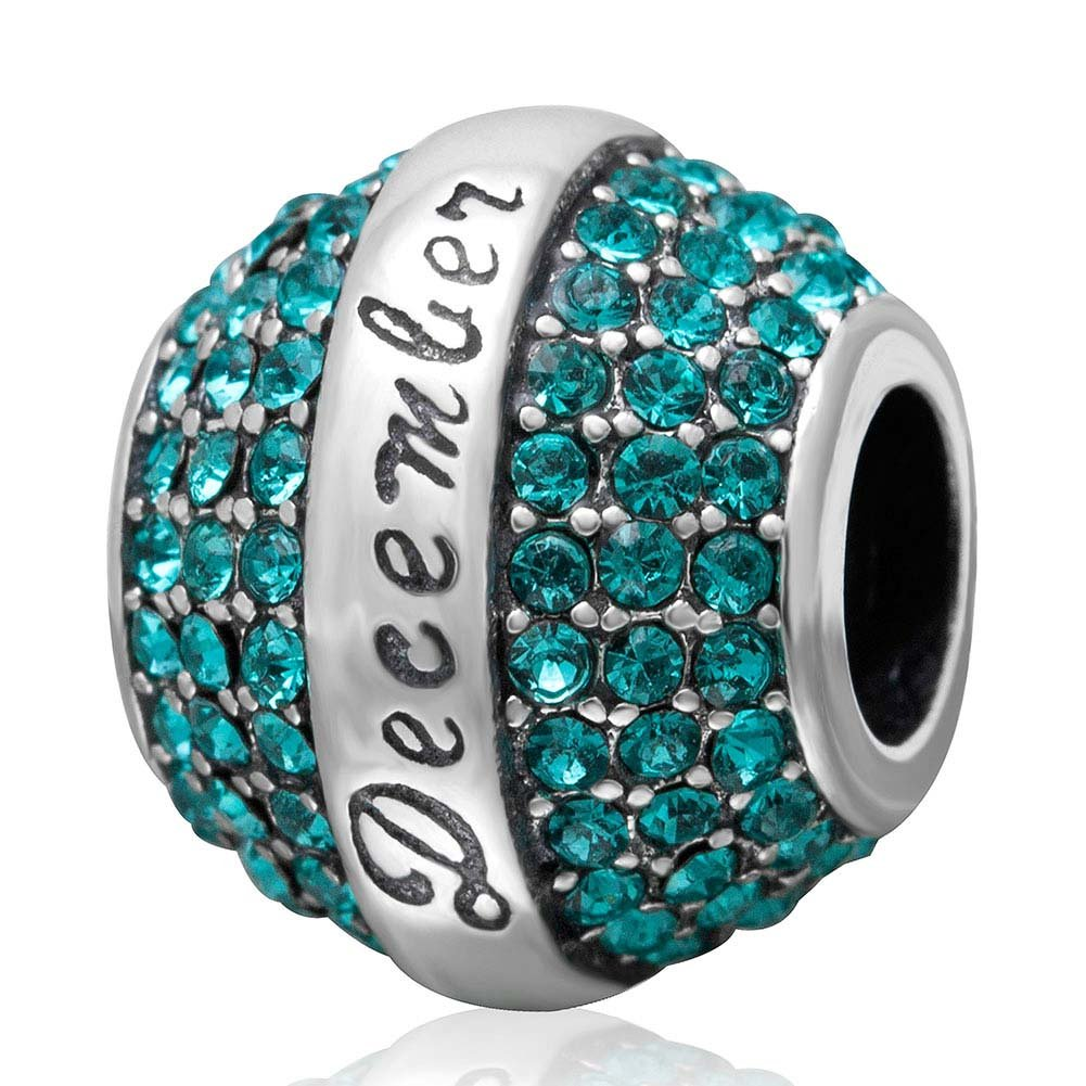 Birthstone Charm 925 Sterling Silver December Charm with Crystal Charm Birthday Charm for Bracelet (December)