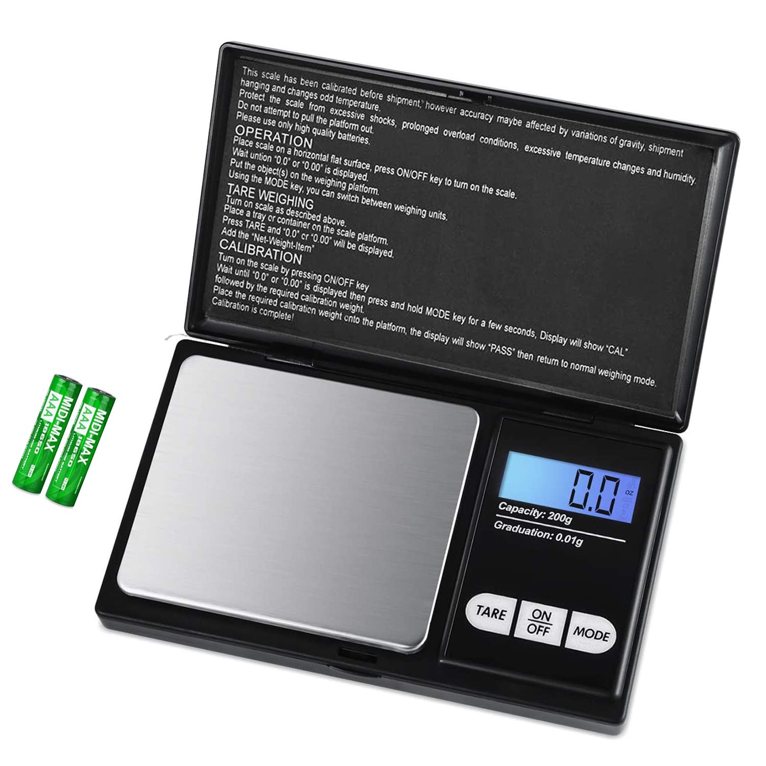 JOYIT Digital Pocket Scale - 200g by 0.01g Food Scale Grams and Ounces, Jewelry Scale Black, Kitchen Scale 200g