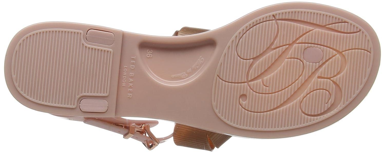 82973ccfa31b Amazon.com  Ted Baker Women s Camaril Plastic Bow Flat Sandal Mink Pink Rose  Gold  Shoes