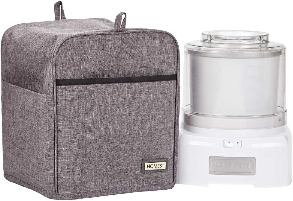 HOMEST Ice Cream Maker Dust Cover with Accessory Pocket for Cuisinart ICE-20, ICE-21, ICE-30, ICE-30BC, ICM100, Grey (Patent Pending)