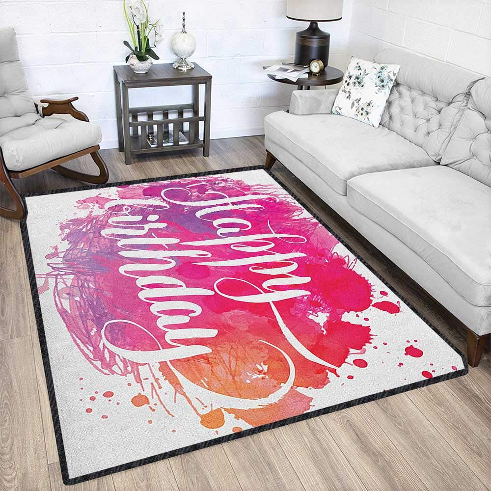 Birthday Decor Area Rug,Abstract Watercolored Splatters Hand Paint Style Artistic Celebratory Text Suitable for Bedroom Home Decor Pink Red Orange 79''x95'' by Philip C. Williams