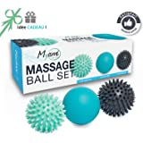 RELAX  Set unique de 3 balles de massage différentes - Réflexologie Acupression - Elimine les tensions et le stress Idéal pour masser les pieds, dos, épaules, bras...Idée cadeau zen original