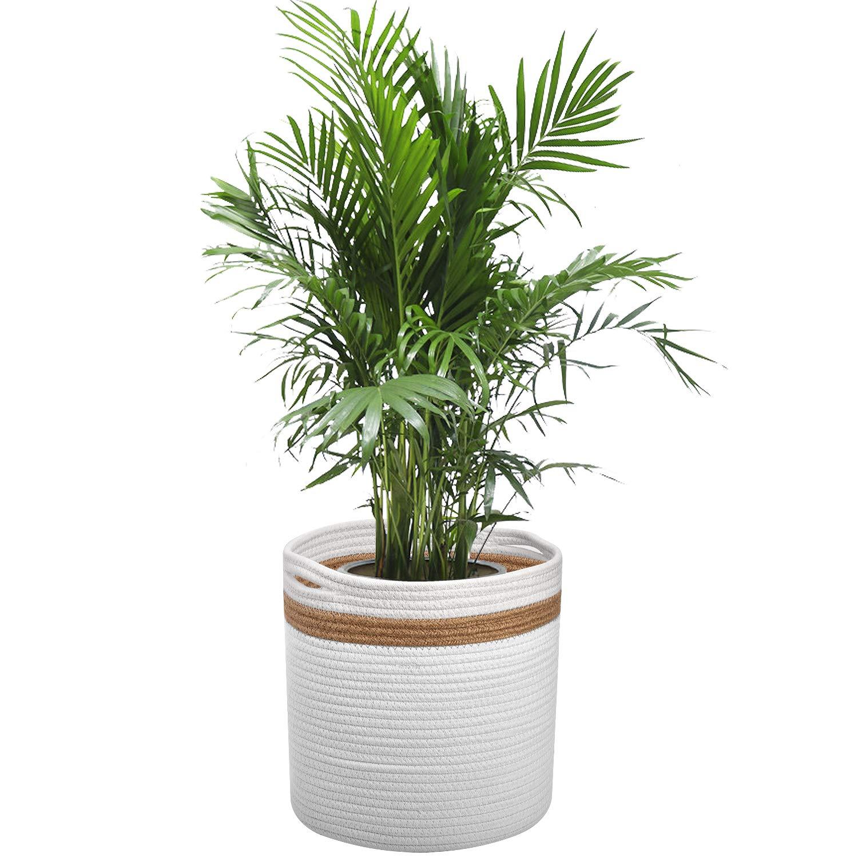 Cotton Rope Plant Basket for 10 Planter Flower Pot, Woven Basket, Storage Basket Organizer Modern Home D cor, 11 x 11