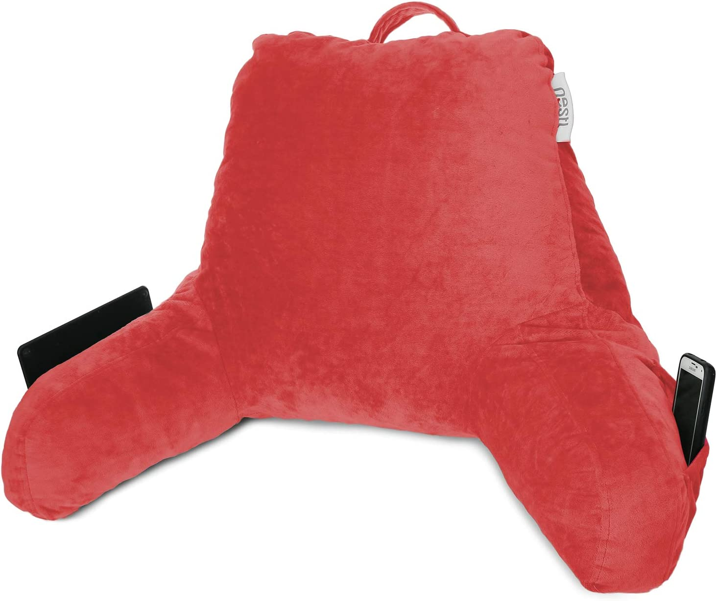 Nestl Reading Pillow, Petite Back Pillow, Backrest Pillows for Bed with Arms, Shredded Memory Foam Back Pillows for Sitting in Bed, Small Back Support Pillow for Kids & Teens, Red: Home & Kitchen
