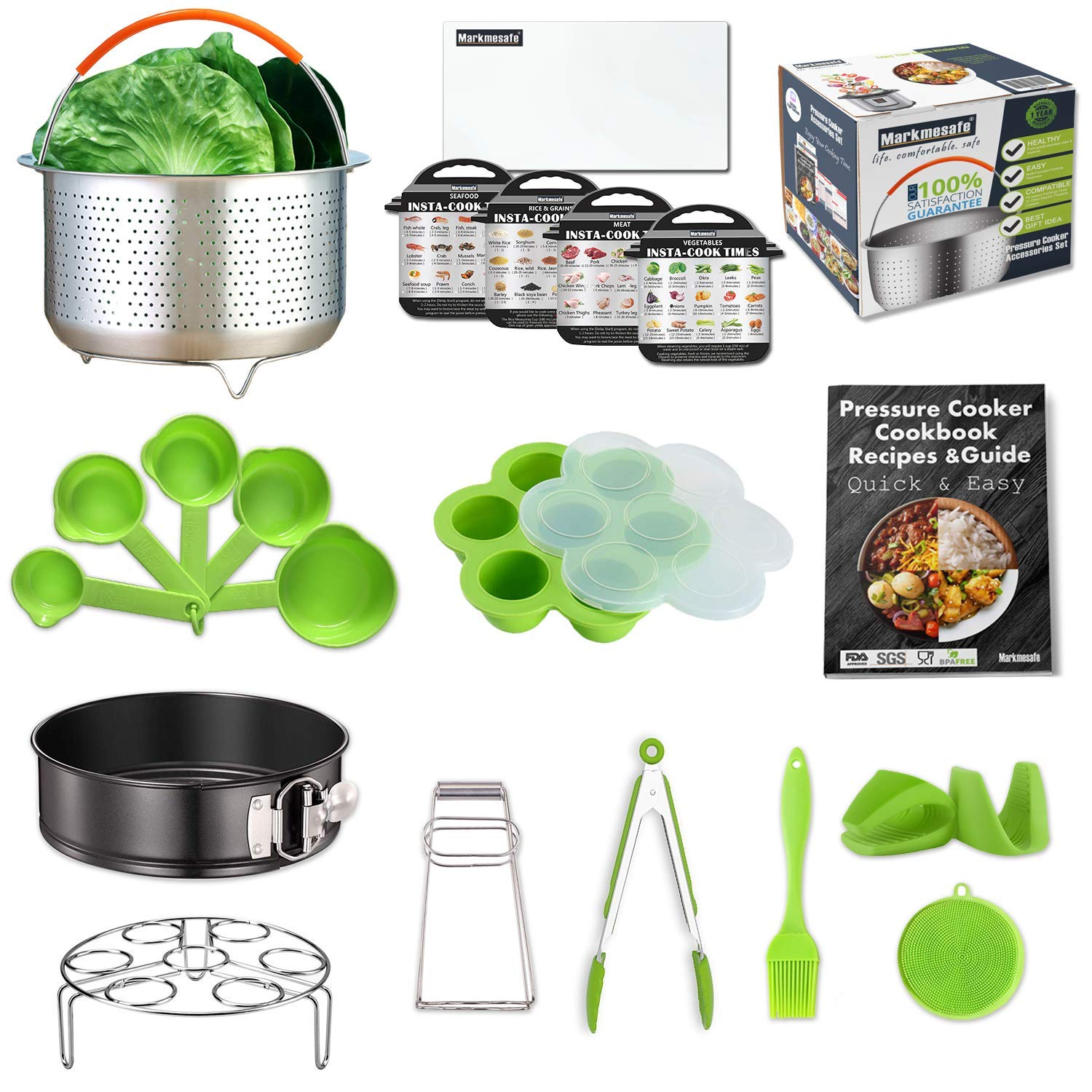 Compatible Instant Pot Accessories Set 6,8 Quart (Qt) Pressure Cooker, Large Steamer Basket, Cookbook Recipes/Egg Rack/Cheesecake Pan/Egg Bites Mold/5 Cheat Sheet Magnet/Kitchen Tongs/Measuring cups