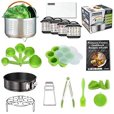 Compatible Instant Pot Accessories Set 6,8 Quart (Qt) Pressure Cooker, Large Steamer Basket, Cookbook Recipes/Egg Rack/Cheesecake Pan/Egg Bites Mold/5 Cheat Sheet Magnet/Kitchen Tongs/Measuring cups
