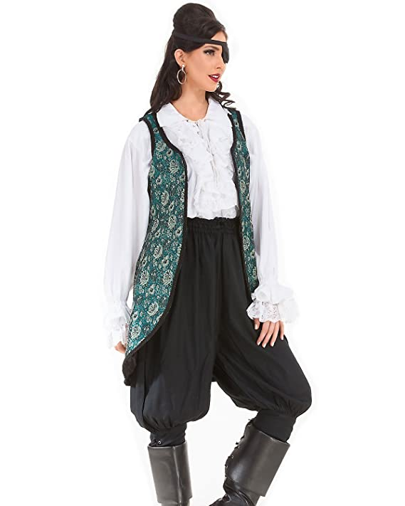 Womenu0027s Angelica Blue Floral Brocade Privateer Renaissance Medieval Costume Lady Pirate Vest Costume with Black Braid  sc 1 st  Deluxe Theatrical Quality Adult Costumes & Lady Pirate Coats Jackets and Vests | Deluxe Theatrical Quality ...