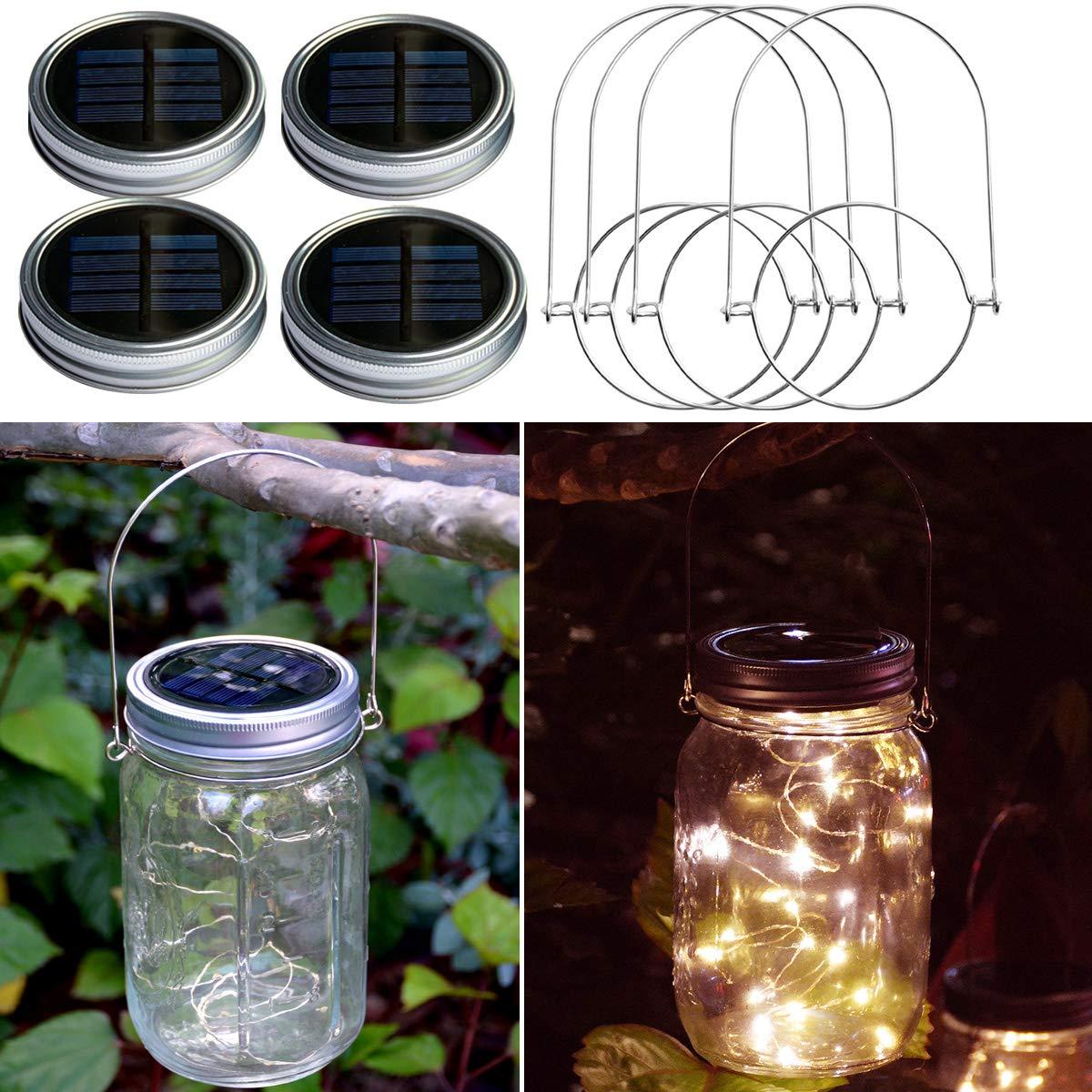 Patio Decor Pathway LAMPDREAM 4 Packs Regular Mouth Solar Mason Jar Lids Lights with Hangers Yard Warm White Waterproof Mason Jar Solar Lights for Garden